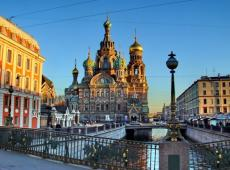 the Church of the Saviour on Spilled Blood in the center of St. Petersburg.
